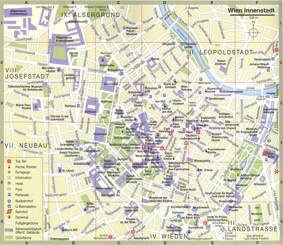 Harta Obiective Turistice Viena Turist In Europa