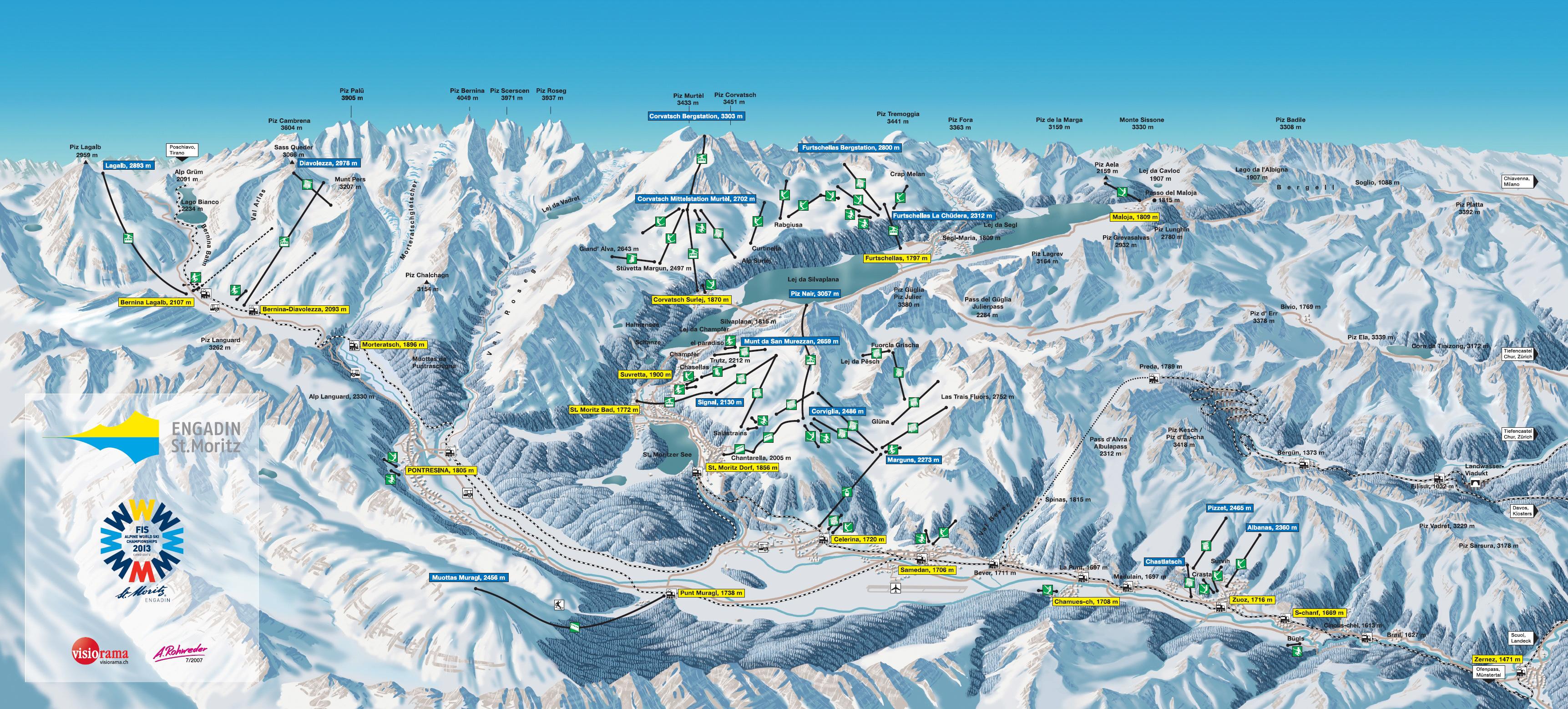 Harta St Moritz Elvetia Turist In Europa